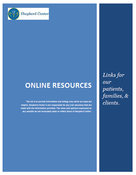 Online resources for patients, families and clients