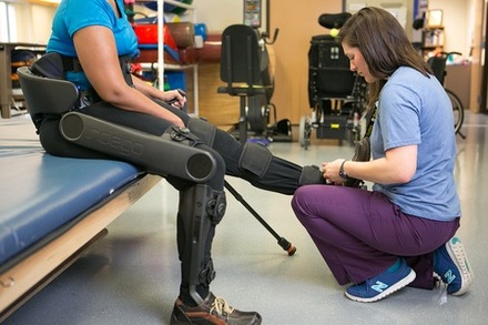 Patient being fitted with Indego exoskeleton at Shepherd Center
