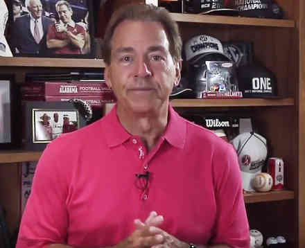 University of Alabama football Coach Nick Saban gives a PSA about distracted driving