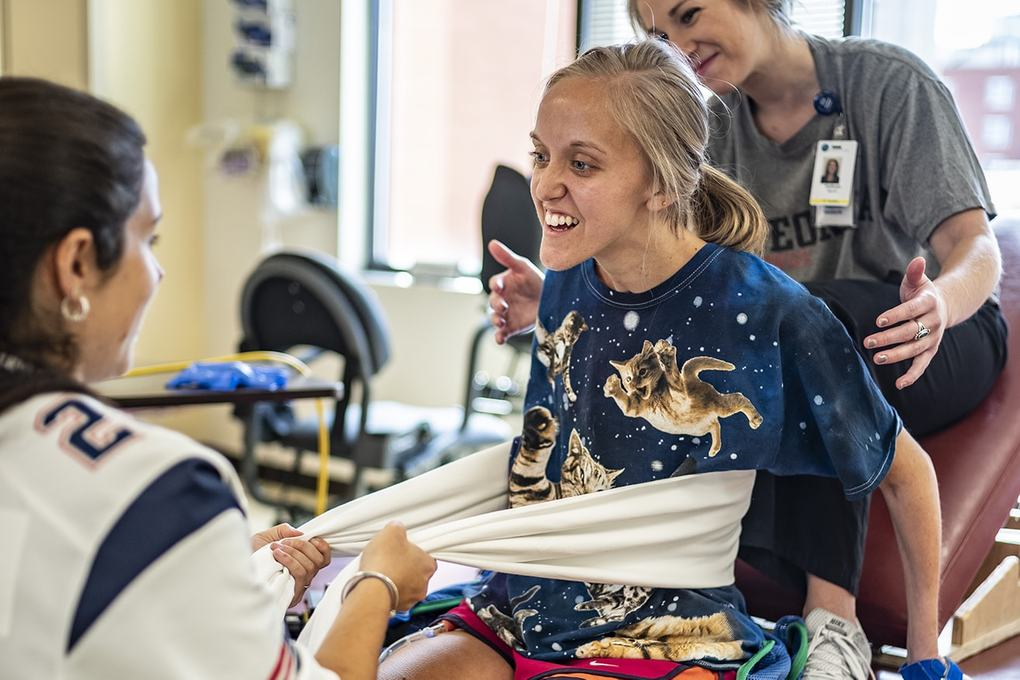 Patient Caroline Moore at Shepherd Center's Georgia rehabilitation hospital