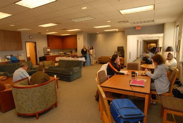 A family lounge at Shepherd Center's rehabilitation facility