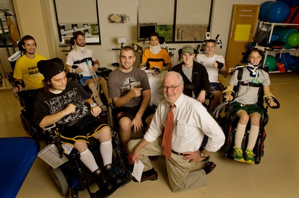 A group of patients meet to discuss injury prevention at Shepherd Center