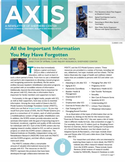 AXIS newsletter by Shepherd Center for Summer 2019
