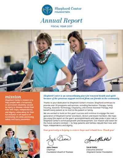 Cover page for 2017 Shepherd Center Foundation Annual Report