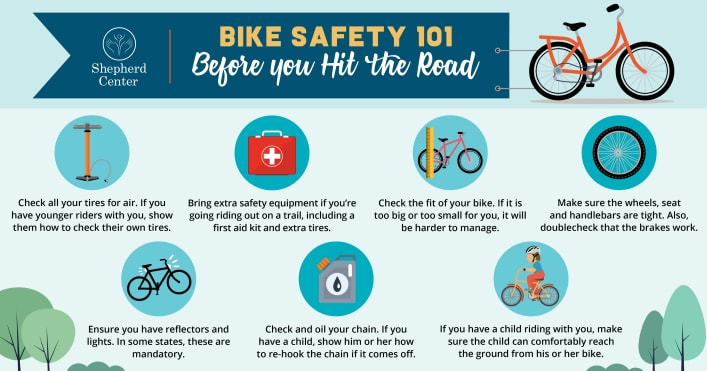 Bike Safety 101 infographic displaying tips for before you hit the road