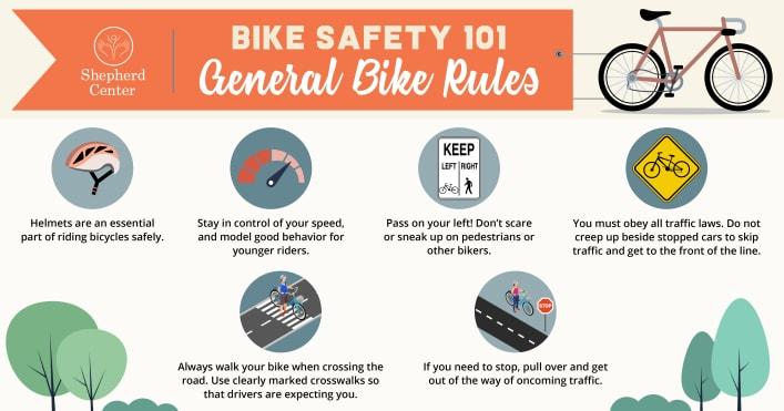Bike Safety 101 infographic displaying general bike rules
