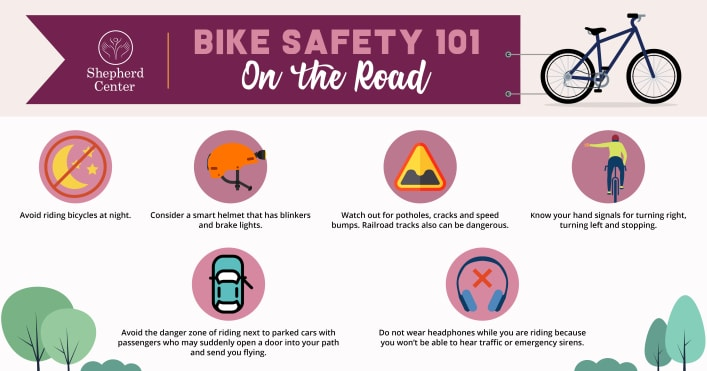 Bike Safety 101 infographic displaying tips for when you're on the road