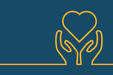 Blue and yellow illustration of hands holding a heart