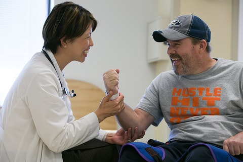 Dr. Anna Elmers with SCI patient Andy Collier