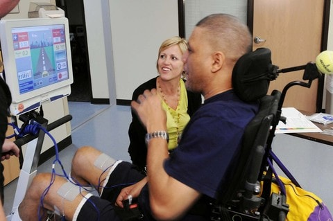 Shepherd Center patient learning to use adaptive driving equipment