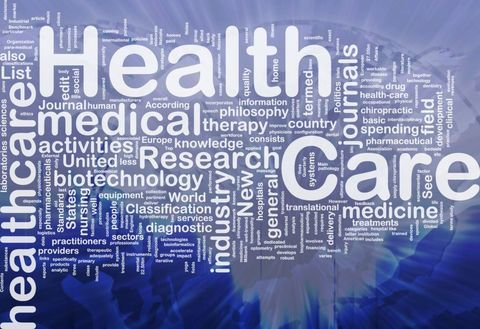 "A word cloud with the large words ""healthcare"" and ""medical"""