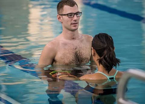 Two people participate in aquatic therapy at Shepherd Center's Atlanta rehabilitation facility