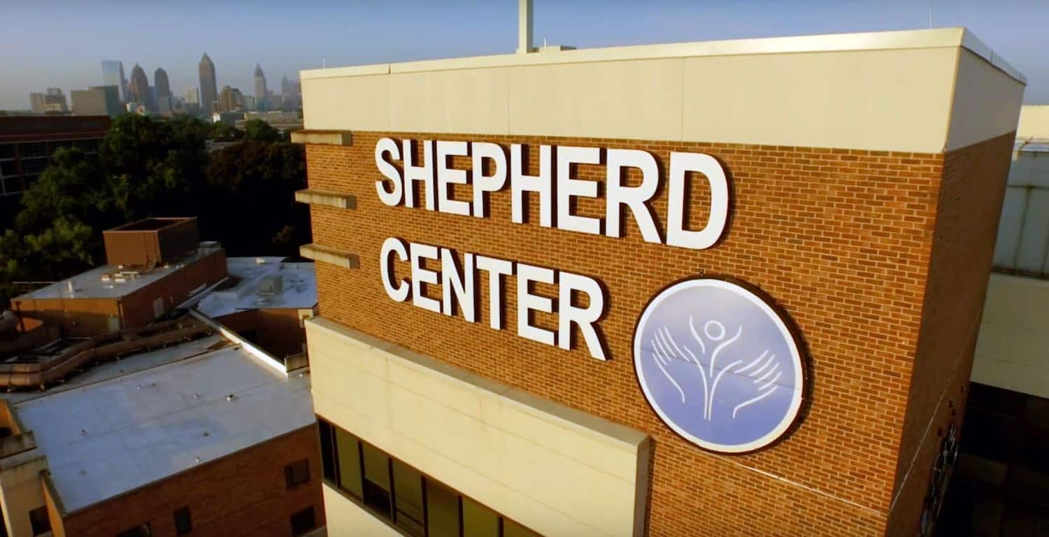 Aerial view of Shepherd Center campus in Atlanta, Georgia