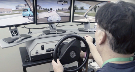 Patient uses adaptive driving technology at Shepherd Center